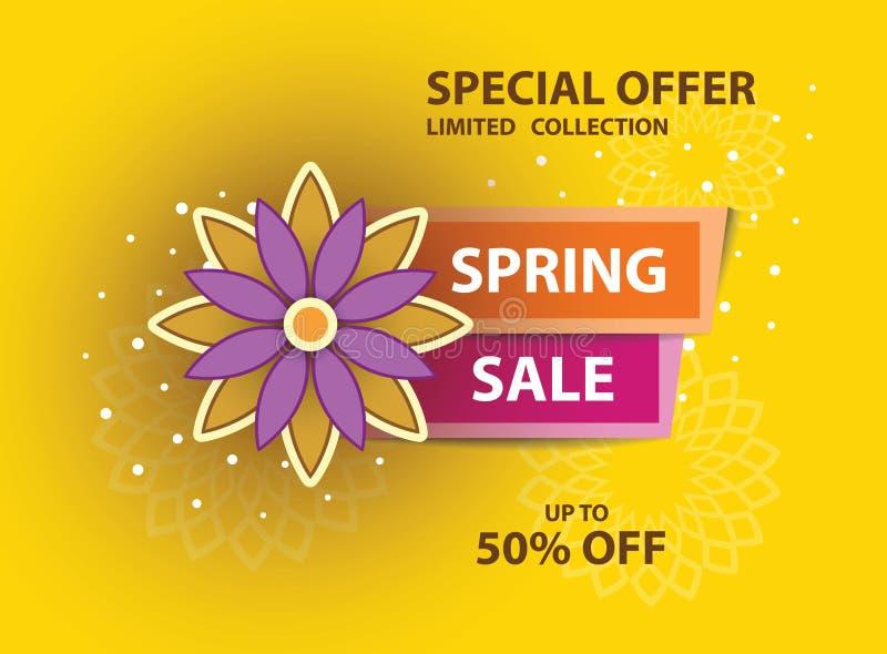 Manifesto giallo di vendita della primavera fotografie stock libere da diritti