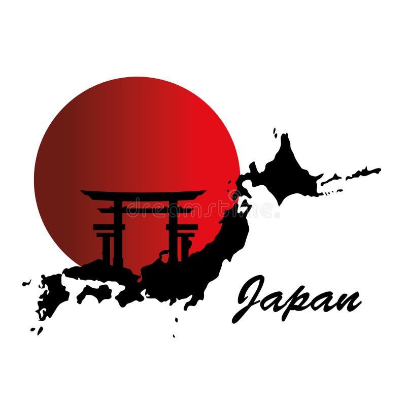 Manifesto giapponese della mappa della cultura royalty illustrazione gratis