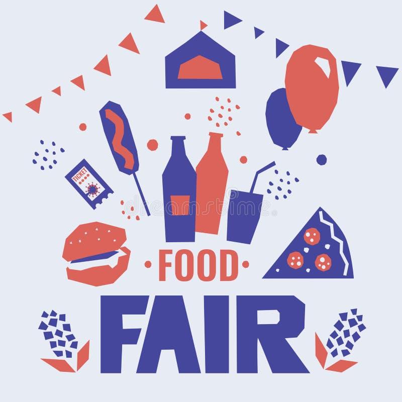 Manifesto giusto dell'alimento Manifesto per la fiera dello stato, festival del paese illustrazione vettoriale