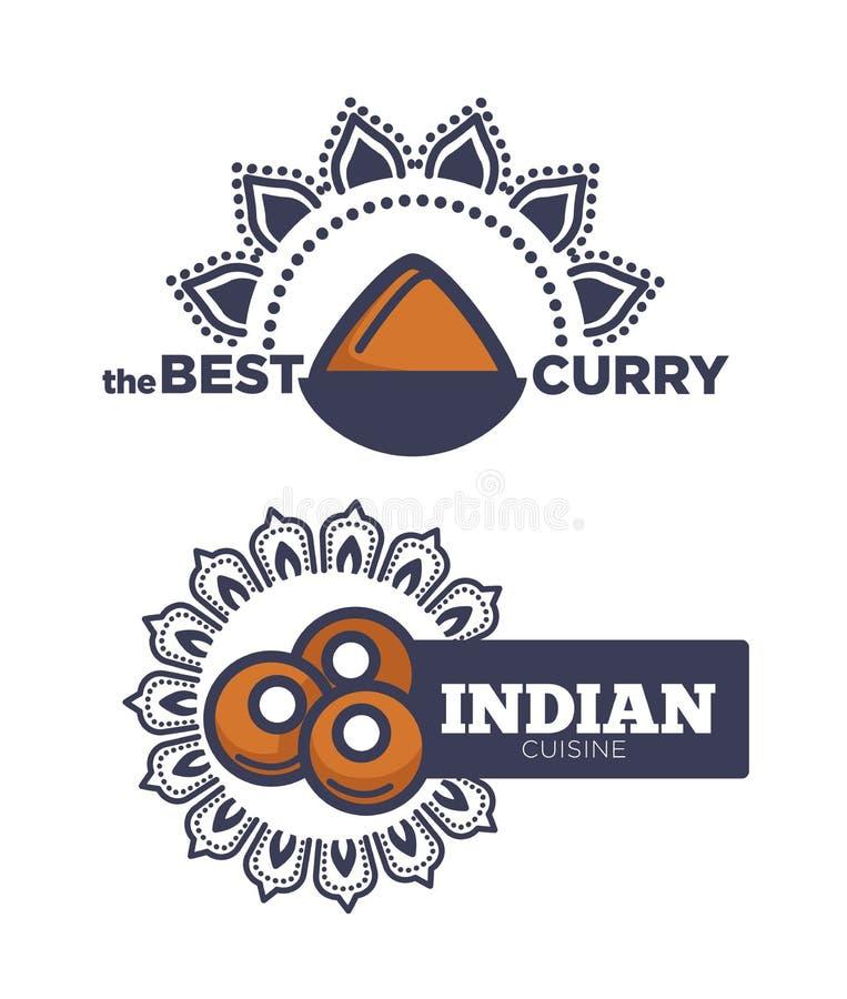 Manifesto indiano di cucina del migliore curry con il vettore della salsa illustrazione di stock