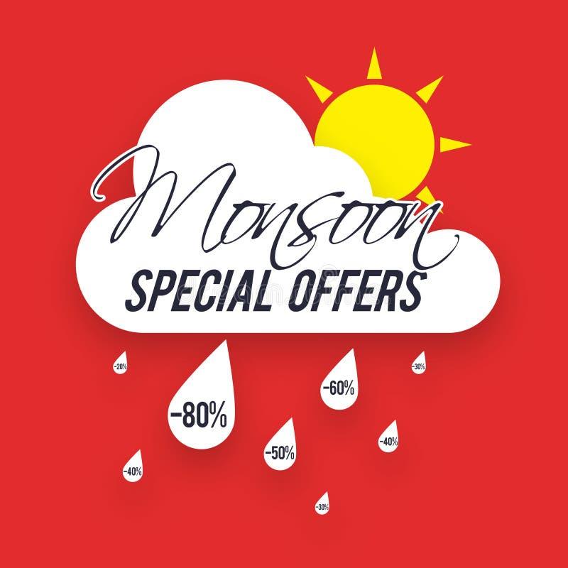 Manifesto, insegna o aletta di filatoio di offerte speciali di monsone illustrazione vettoriale