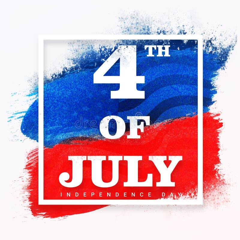 Manifesto, insegna o aletta di filatoio per la celebrazione del 4 luglio illustrazione vettoriale