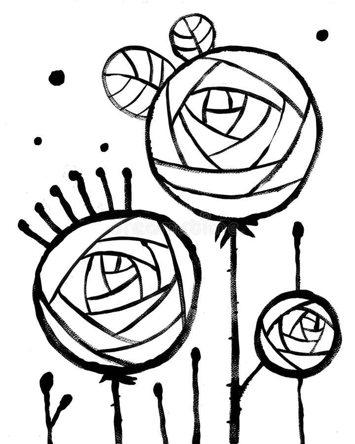 Manifesto interno astratto d'avanguardia con tre rose illustrazione di stock