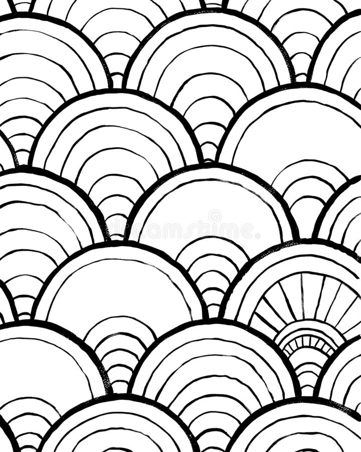 Manifesto interno astratto d'avanguardia Immagine disegnata a mano nera su fondo bianco Illustrazione di vettore Progettazione de illustrazione di stock