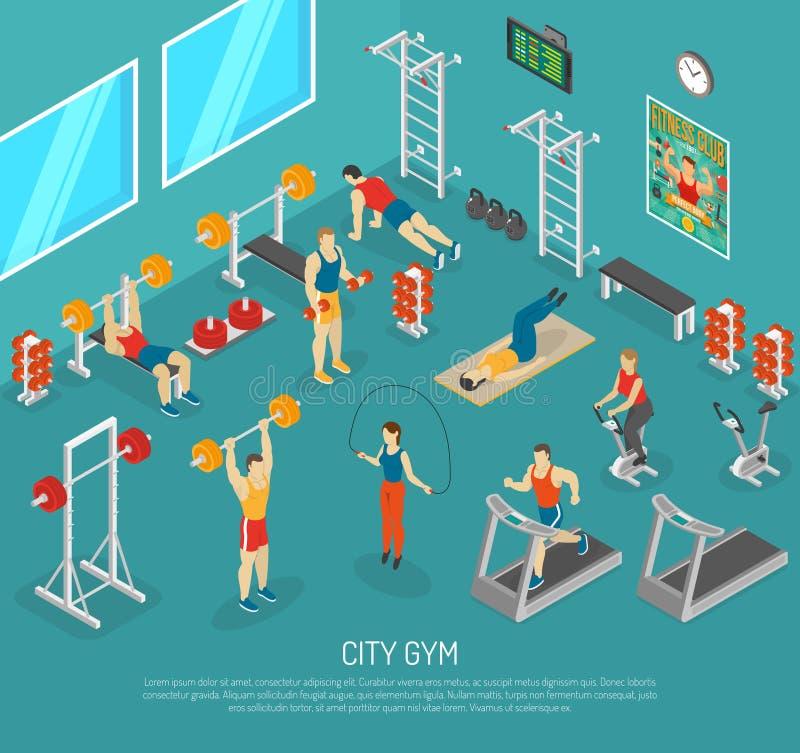 Manifesto isometrico del centro della palestra di forma fisica della città royalty illustrazione gratis