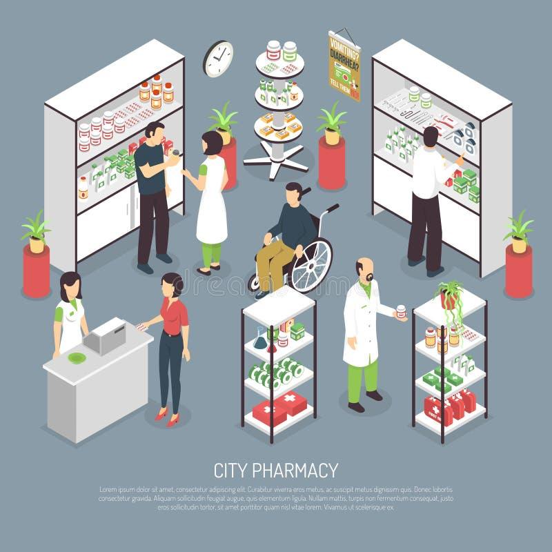 Manifesto isometrico interno della composizione nella farmacia della città illustrazione di stock