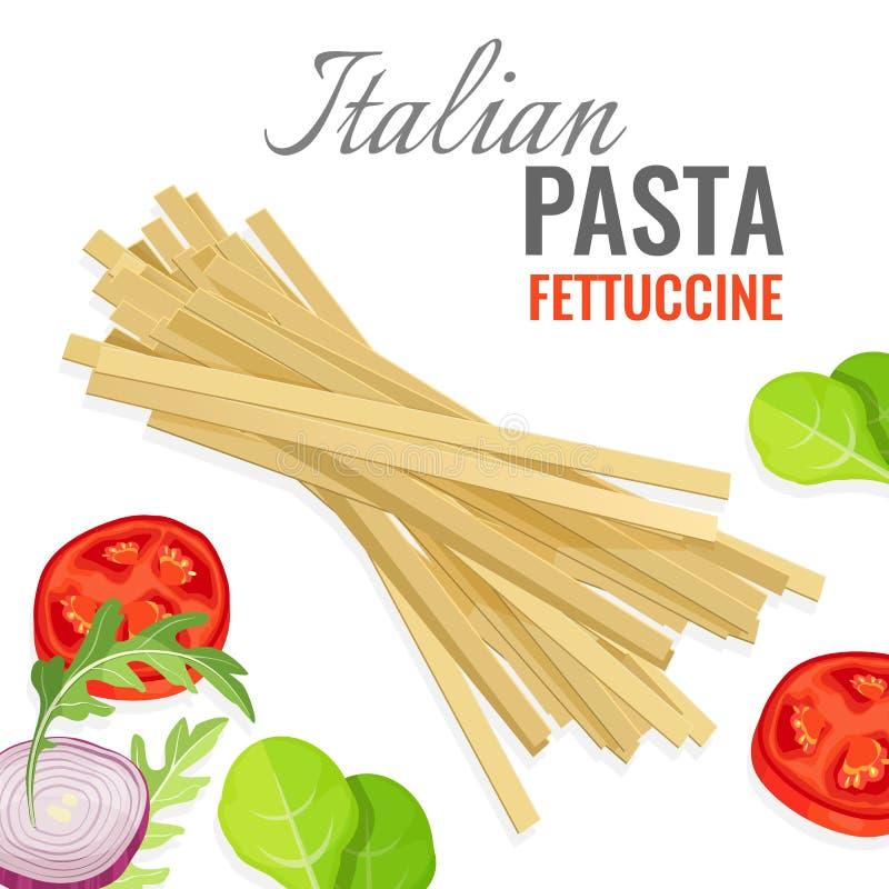 Manifesto italiano della pasta con l'illustrazione di vettore degli ortaggi freschi royalty illustrazione gratis