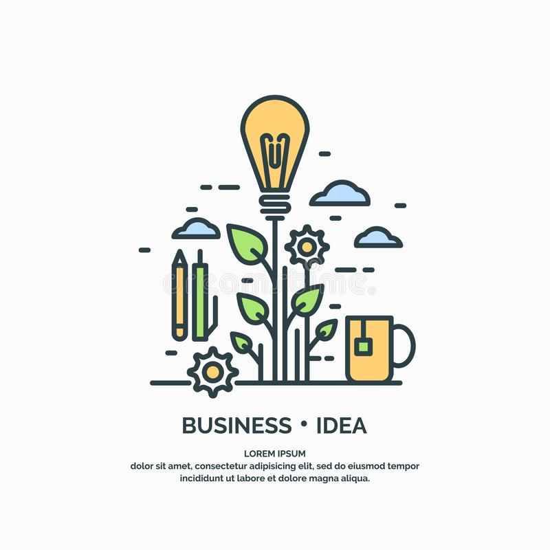 Manifesto lineare dell'idea di affari illustrazione di stock
