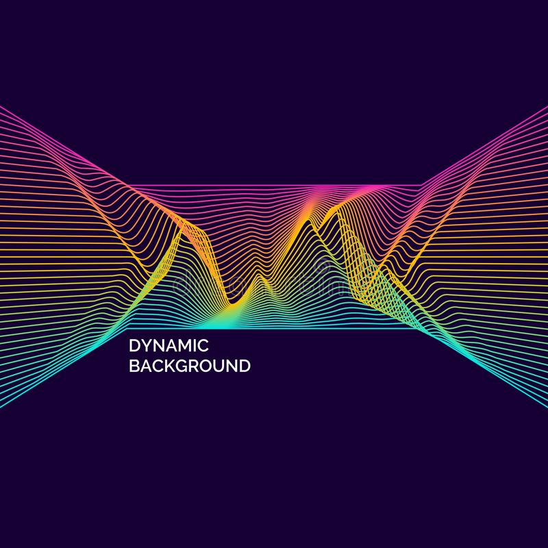 Manifesto luminoso con le onde dinamiche Illustrazione di vettore nello stile minimo royalty illustrazione gratis