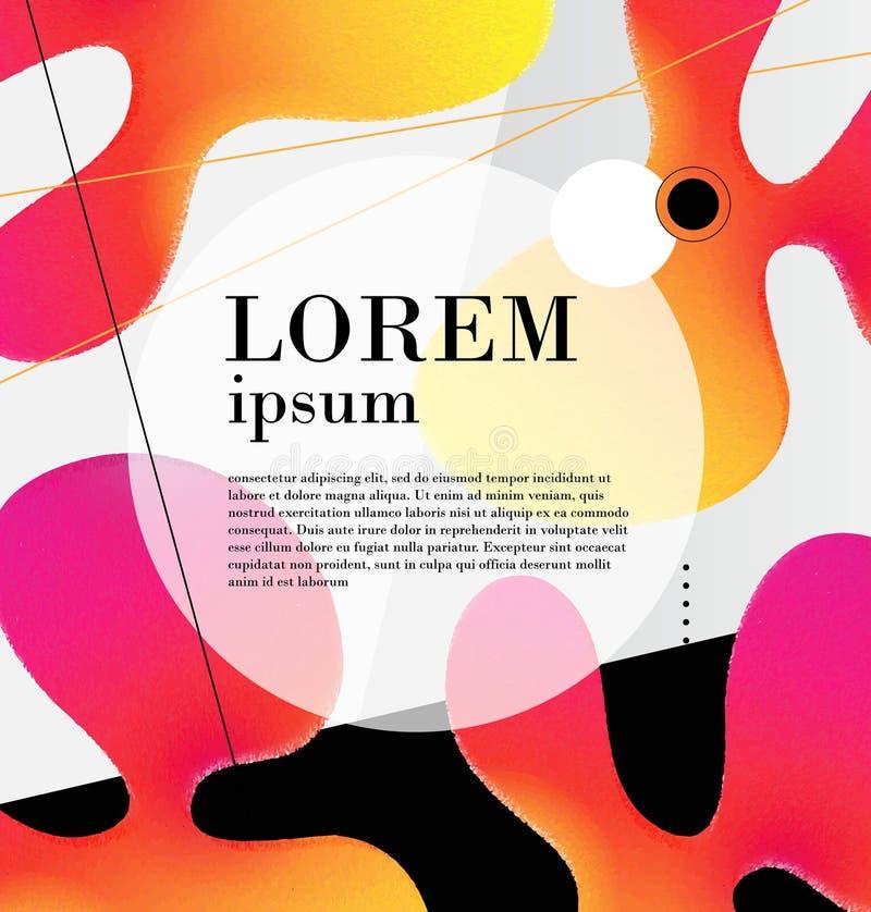 Manifesto luminoso con le onde dinamiche Illustrazione di vettore nello stile piano minimo illustrazione di stock