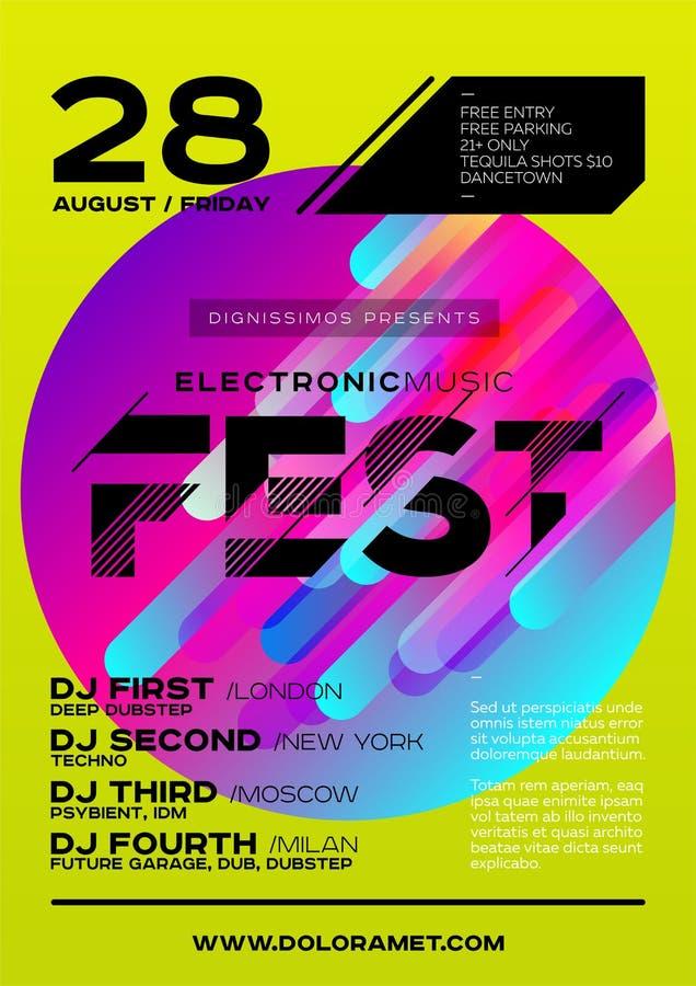 Manifesto luminoso del DJ per il festival di estate Musica elettronica minima C illustrazione vettoriale
