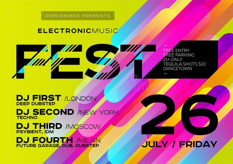 Manifesto luminoso di musica di vettore per il festival Copertura di musica elettronica illustrazione vettoriale