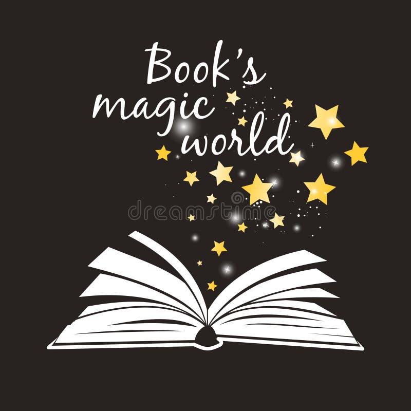 Manifesto magico del mondo dei libri Libro aperto con i white pages ed il vettore magico dorato degli asterischi illustrazione vettoriale