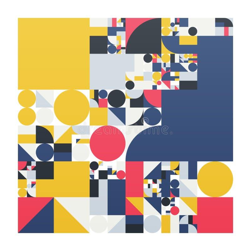 Manifesto minimalistic di vettore con le forme semplici Geometrico procedurale Disposizione svizzera dell'estratto di stile Gener illustrazione vettoriale