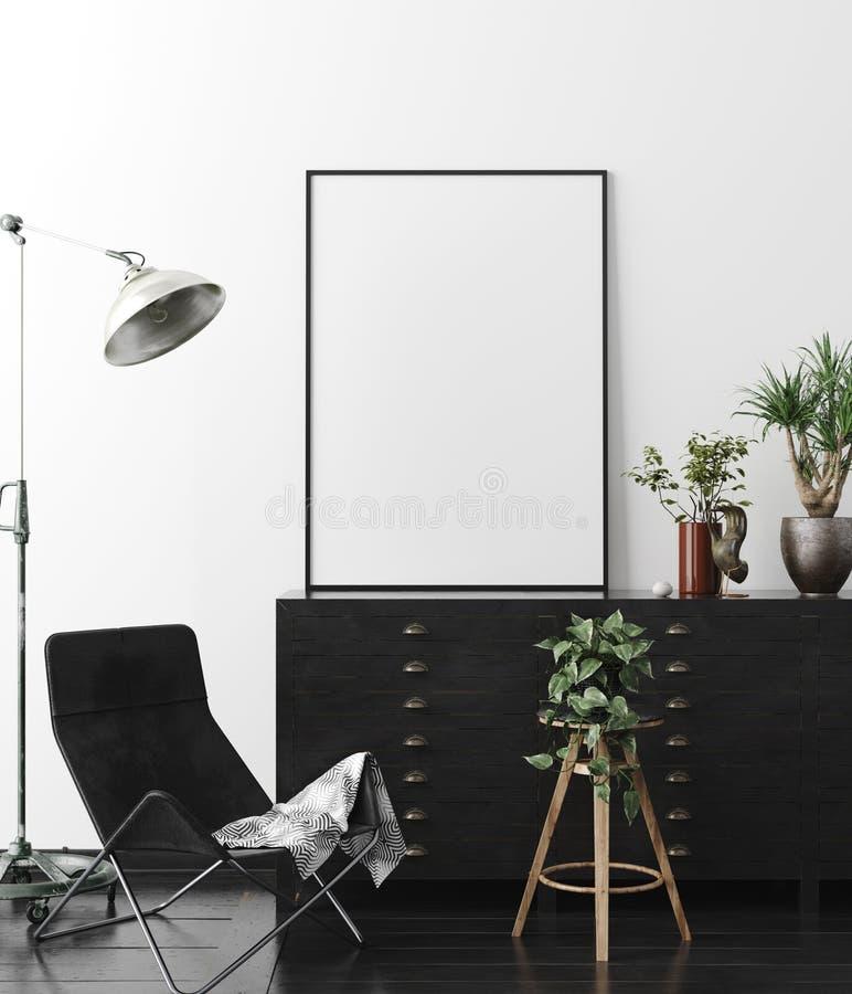 Manifesto, modello della parete nel fondo interno con mobilia scura, stile industriale illustrazione di stock