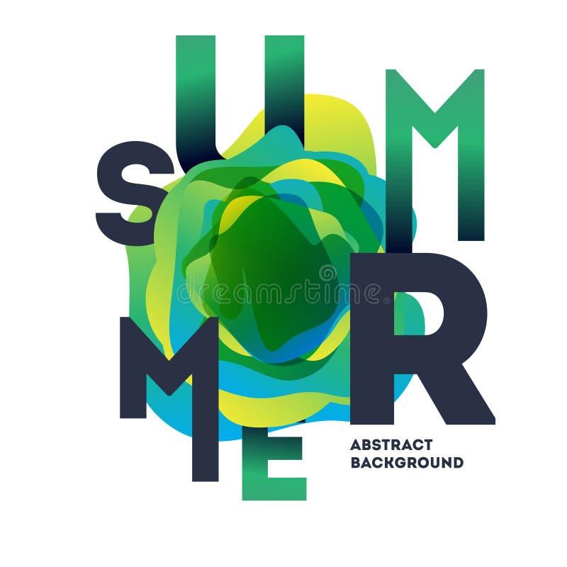 Manifesto moderno variopinto di estate Illustrazione creativa di pendenza della spruzzata illustrazione di stock