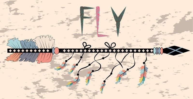 Manifesto motivazionale nella mosca di stile di Boho Freccia ed iscrizione immagine stock libera da diritti