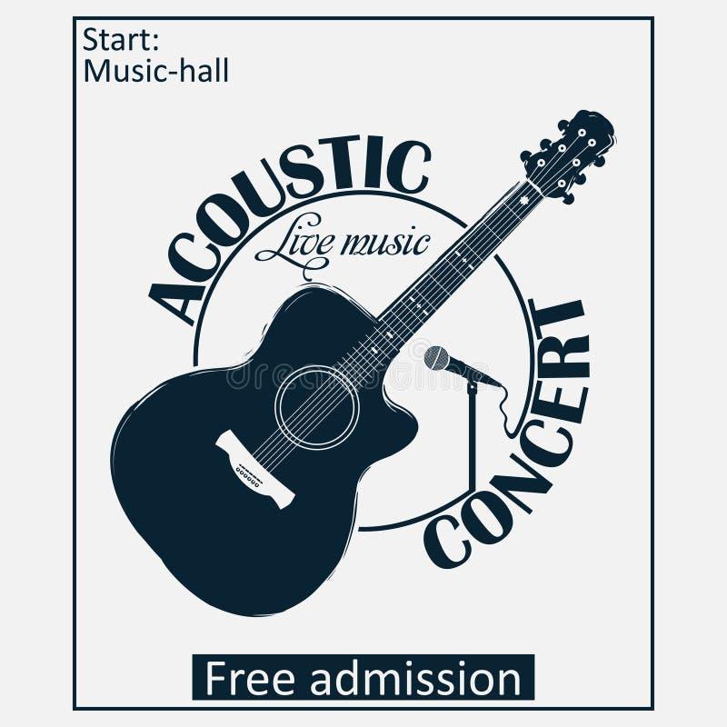 Manifesto musicale acustico di concerto con la chitarra ed il microfono Vettore illustrazione vettoriale