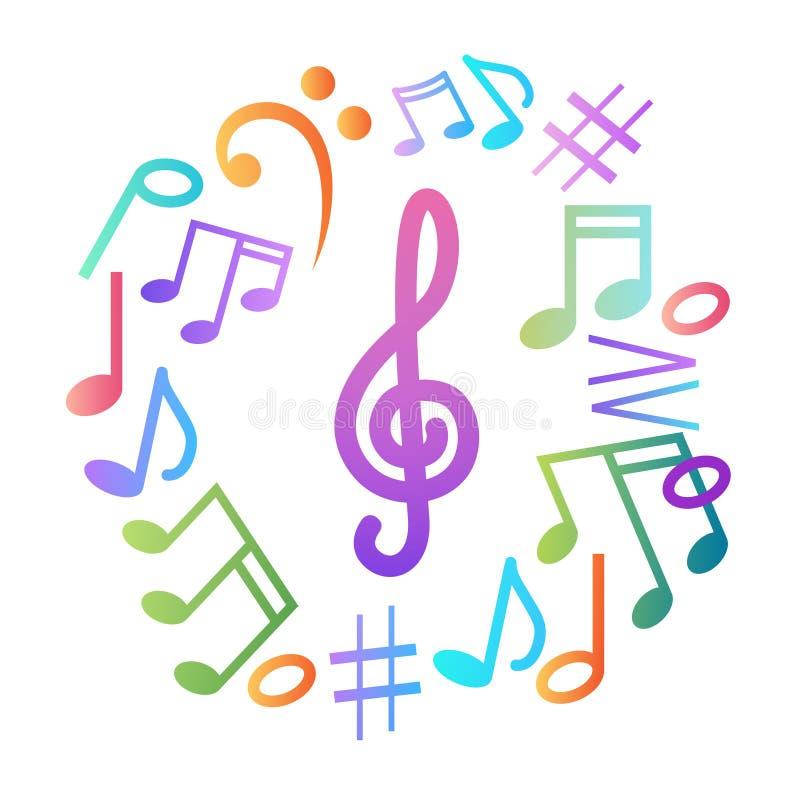 Manifesto musicale moderno variopinto dell'insegna di concerto di musica delle note royalty illustrazione gratis
