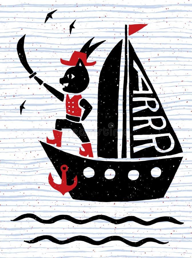 Manifesto nautico d'annata Nave di pirata con il gatto di capitano Stile puerile divertente del fumetto Illustrazione disegnata a royalty illustrazione gratis