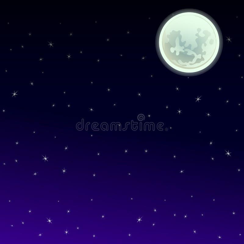 Manifesto nello stile della festa tutto il Halloween diabolico Il cielo notturno alla mezzanotte dalla luce della luna piena con  illustrazione vettoriale
