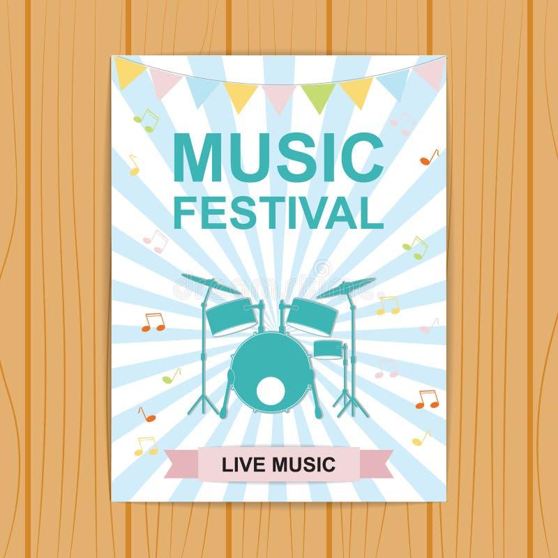 Manifesto o aletta di filatoio di festival di musica Manifesto con gli strumenti musicali, illustrazione di stock