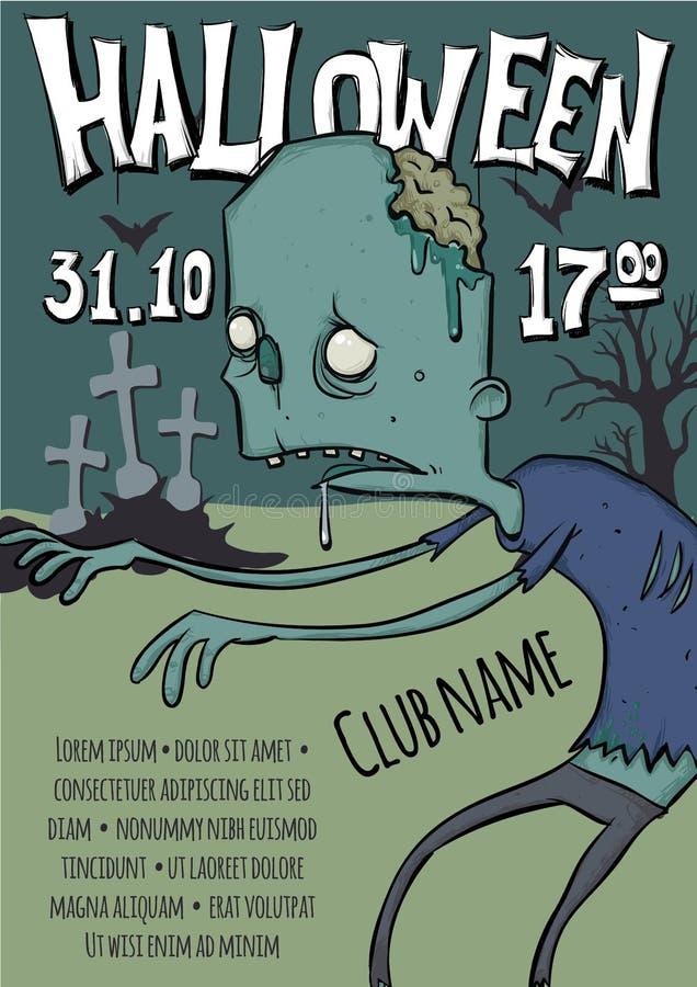 Manifesto o aletta di filatoio per il partito di Halloween Zombie che camminano fra le tombe nel cimitero Illustrazione del model royalty illustrazione gratis