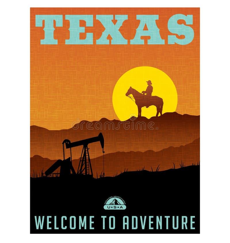 Manifesto o autoadesivo illustrato di viaggio per il Texas, U.S.A. royalty illustrazione gratis