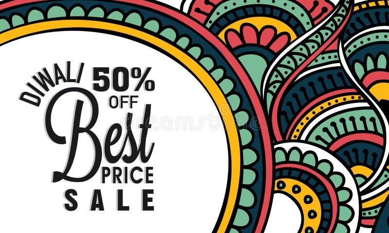 Manifesto o insegna di vendita per la celebrazione felice di Diwali illustrazione vettoriale