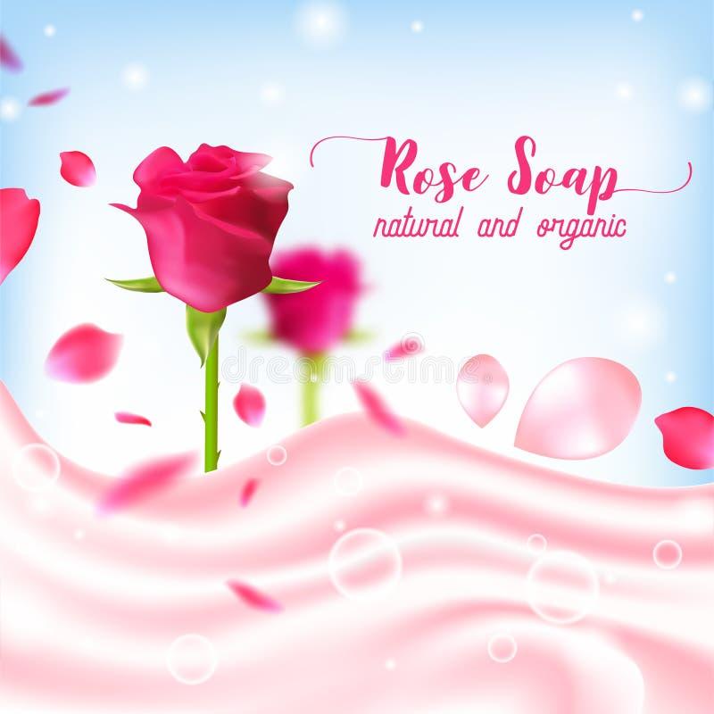 Manifesto organico naturale del sapone di Rosa illustrazione di stock