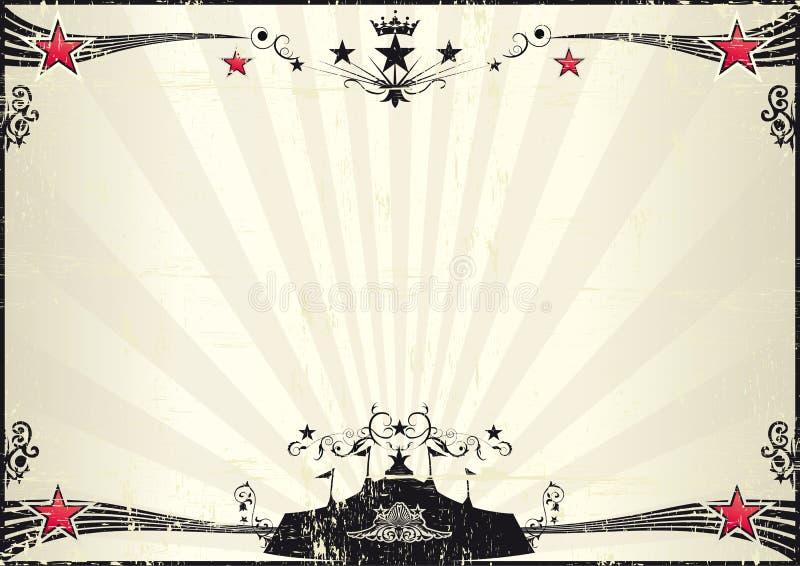 Manifesto orizzontale del circo di lerciume illustrazione di stock