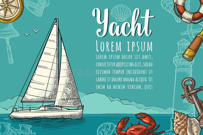 Manifesto orizzontale per l'yacht club con il modello del testo Incisione di vettore illustrazione di stock