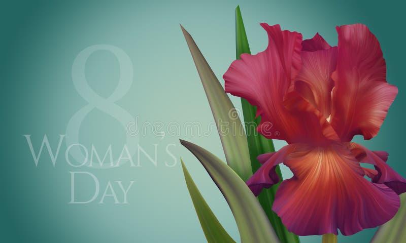 Manifesto per il giorno della donna con l'iride variopinta artistica originale di rosso di fantasia illustrazione di stock