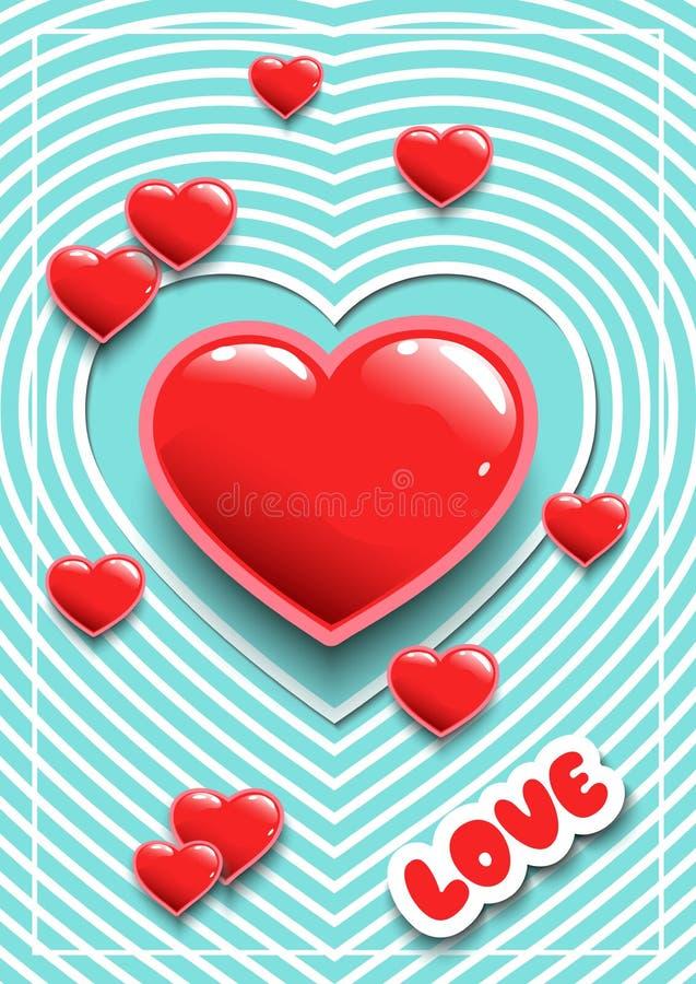 Manifesto per il San Valentino o le nozze con i cuori Autoadesivi per un partito Cartolina d'auguri Fondo del taglio della carta  illustrazione di stock