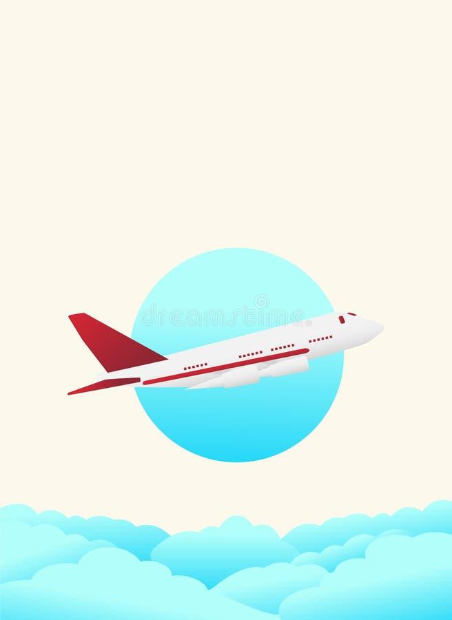 Manifesto per il viaggio nell'aereo del cielo che sta andando alle attrazioni turistiche immagine stock libera da diritti