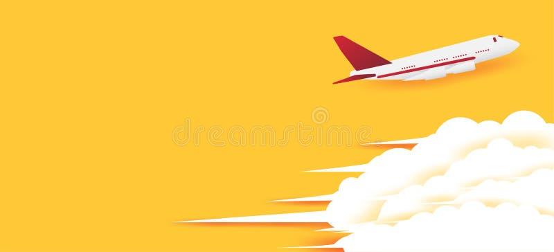 Manifesto per il viaggio nell'aereo del cielo che sta andando alle attrazioni turistiche fotografia stock libera da diritti