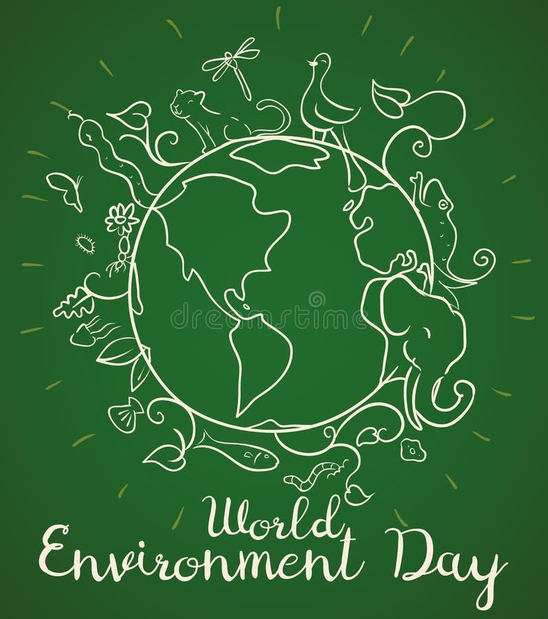 Manifesto per la Giornata mondiale dell'ambiente con gli animali nello stile di scarabocchio, illustrazione di vettore illustrazione vettoriale