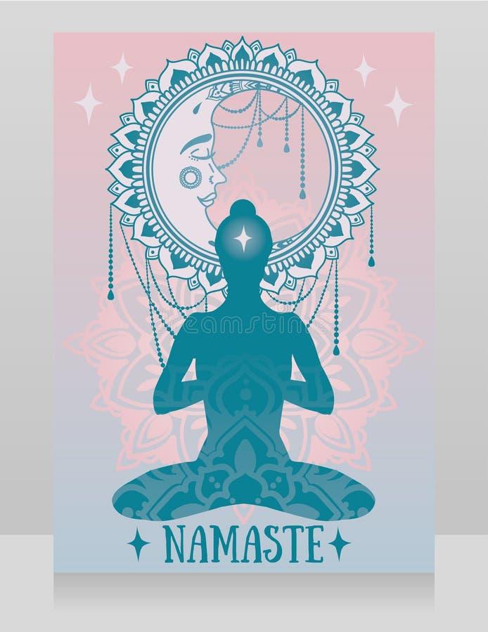 Manifesto per lo studio di yoga con la luna e le stelle di fantasia royalty illustrazione gratis