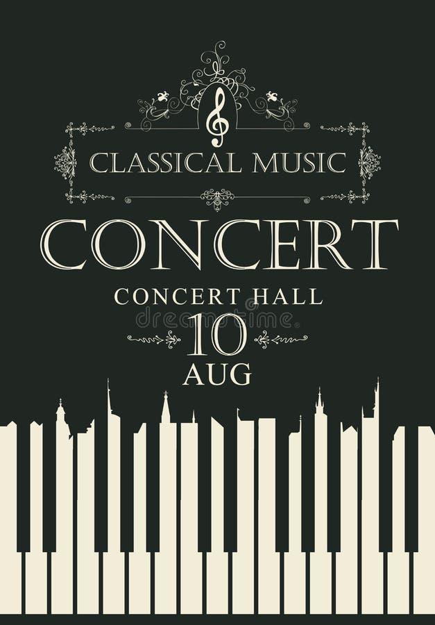 Manifesto per musica classica di concerto con le chiavi del piano royalty illustrazione gratis