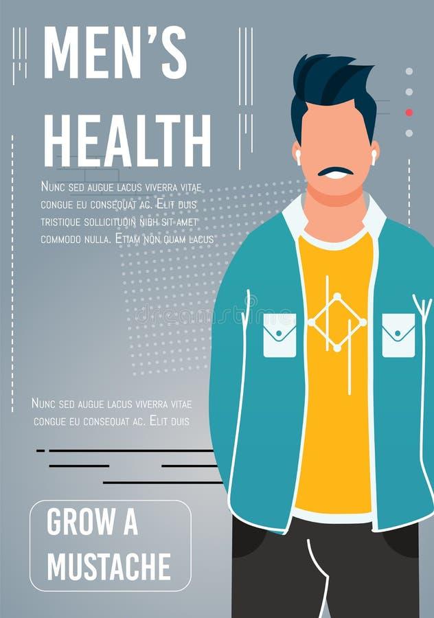 Manifesto piano del fumetto di consapevolezza di salute degli uomini di sostegno illustrazione vettoriale