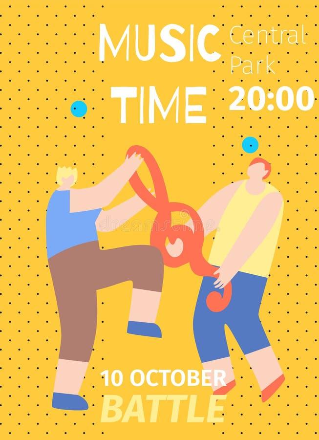 Manifesto piano dell'invito di battaglia di ottobre di tempo di musica illustrazione di stock