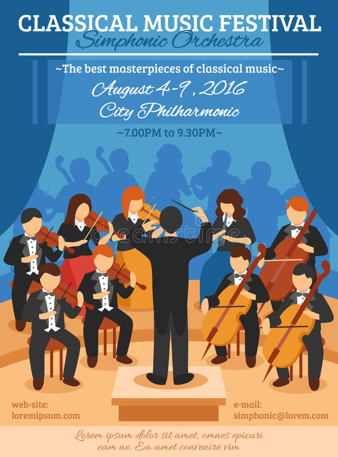 Manifesto piano di festival di musica classica illustrazione vettoriale