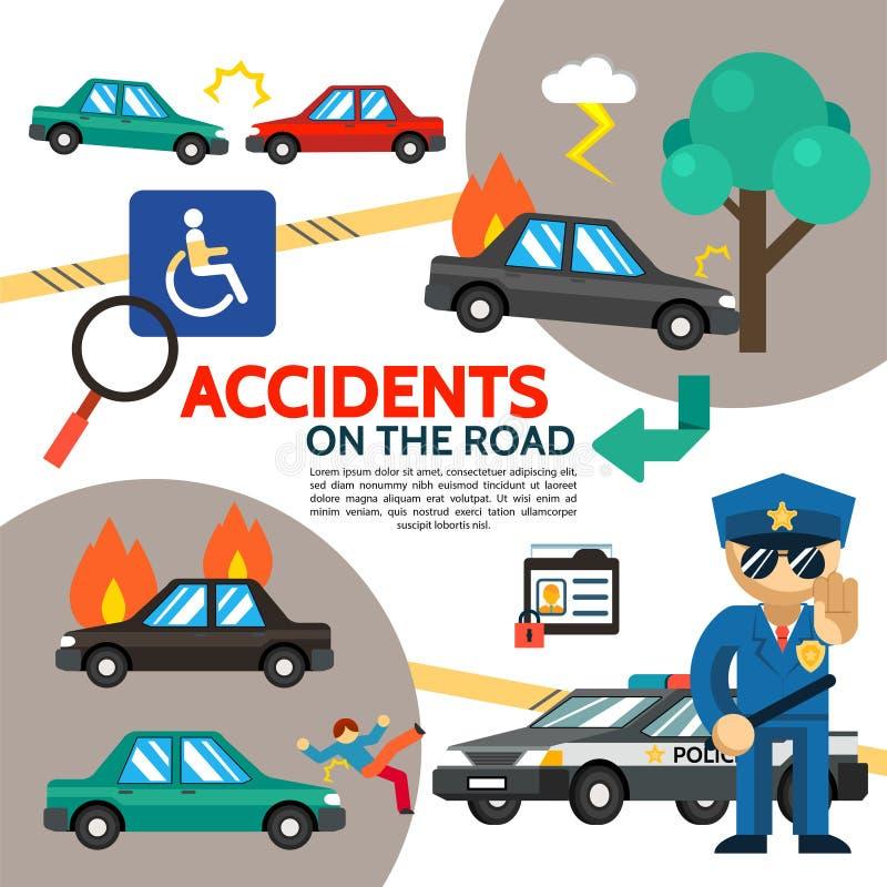 Manifesto piano di incidente stradale royalty illustrazione gratis