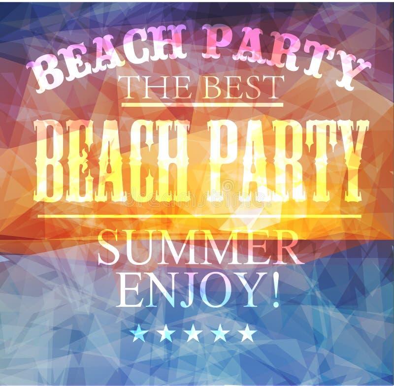 Manifesto poligonale del sammer di vista della spiaggia royalty illustrazione gratis