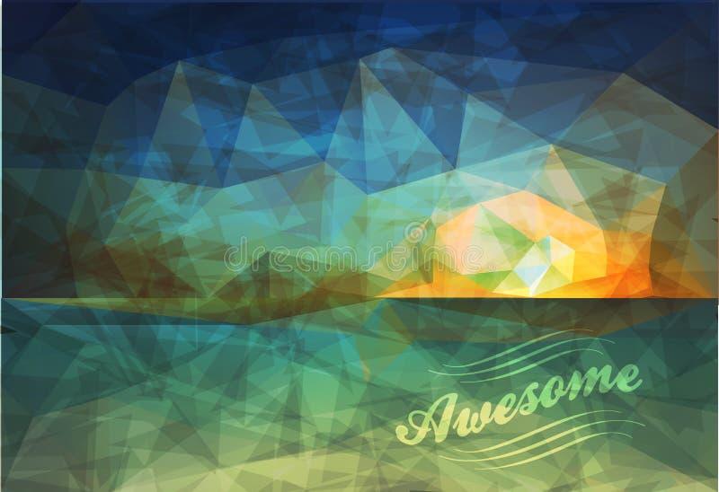 Manifesto poligonale del sammer di vista della spiaggia illustrazione di stock