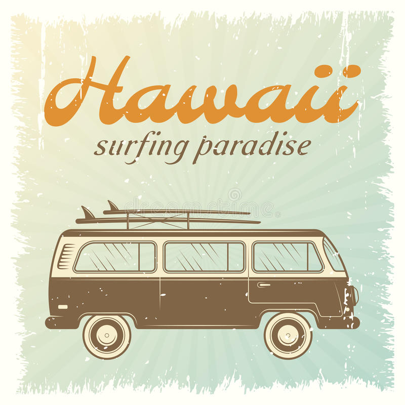 Manifesto praticante il surfing dell'automobile illustrazione vettoriale
