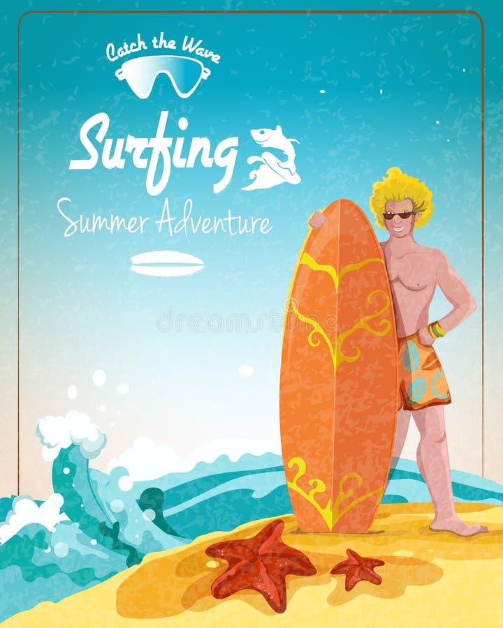 Manifesto praticante il surfing di avventura di estate illustrazione vettoriale