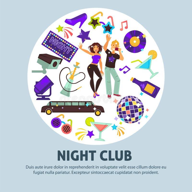 Manifesto promozionale del night-club con la gente e gli attributi del partito illustrazione vettoriale