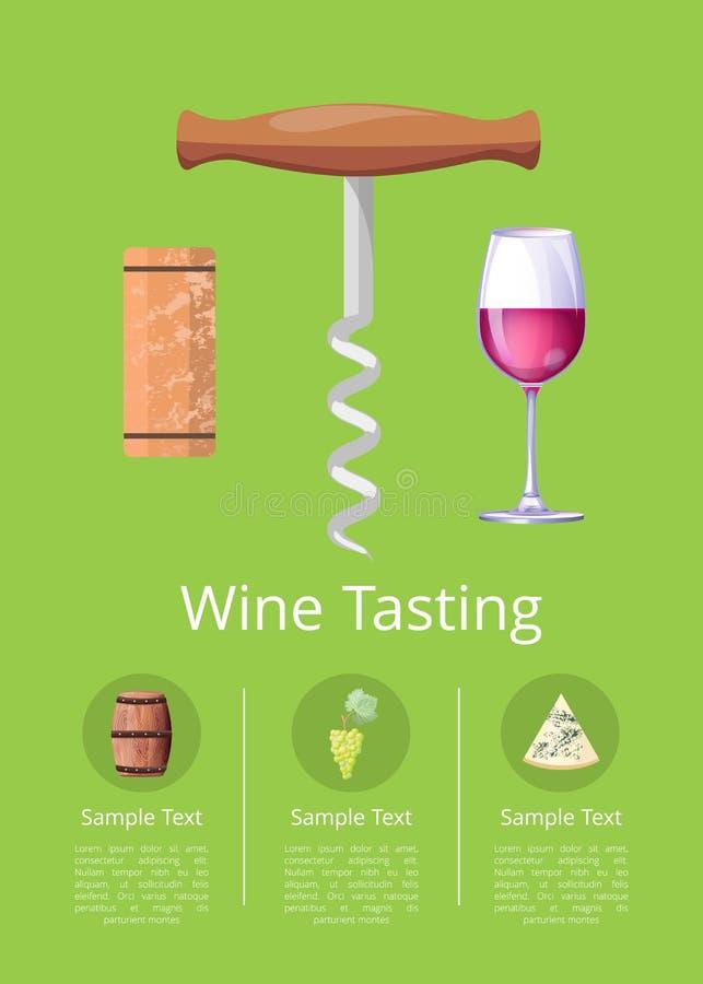 Manifesto promozionale dell'assaggio di vino con la cavaturaccioli illustrazione vettoriale