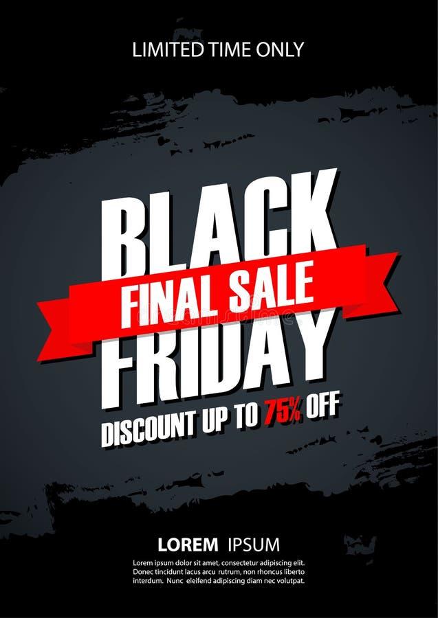 Manifesto promozionale di vendita finale di Black Friday con il fondo del colpo della spazzola per il commercio, l'affare, la pro royalty illustrazione gratis